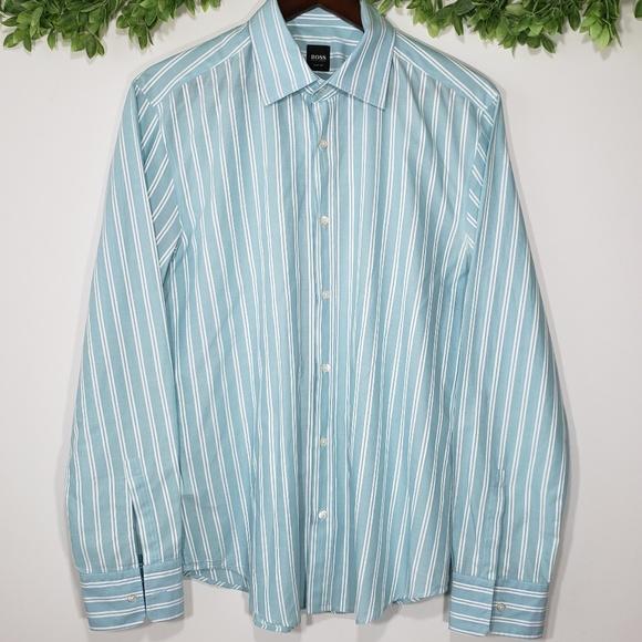 4800086f Hugo Boss Shirts | Boss Slim Fit Striped Button Down Size L | Poshmark
